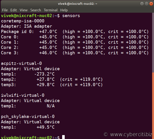 See CPU temperature in Ubuntu Linux using the command line option