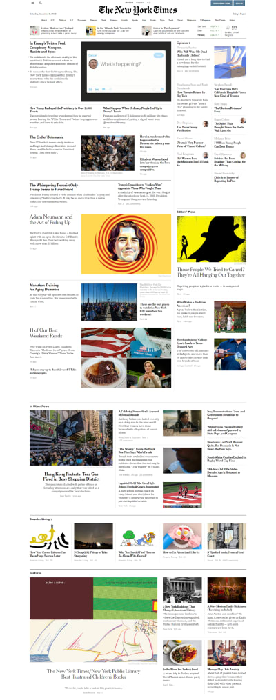 Homepage of The New York Times' website