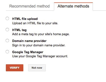 Search Console Verification - Alternate Methods