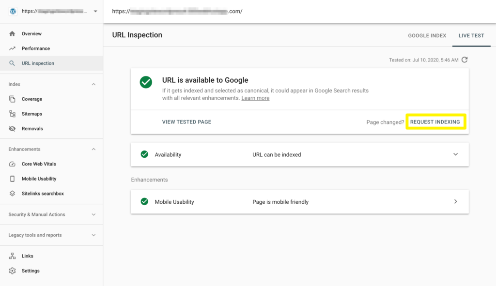 Requesting re-indexing of a page in Google Search Console.